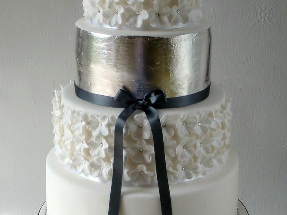 Silver Leaf Wedding Cakes