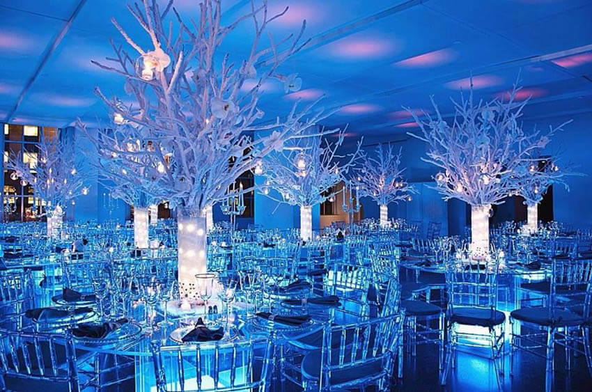 Ice-blue winter theme with snow-covered centrepieces