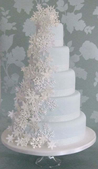 Baby blue cascading snowflakes cake