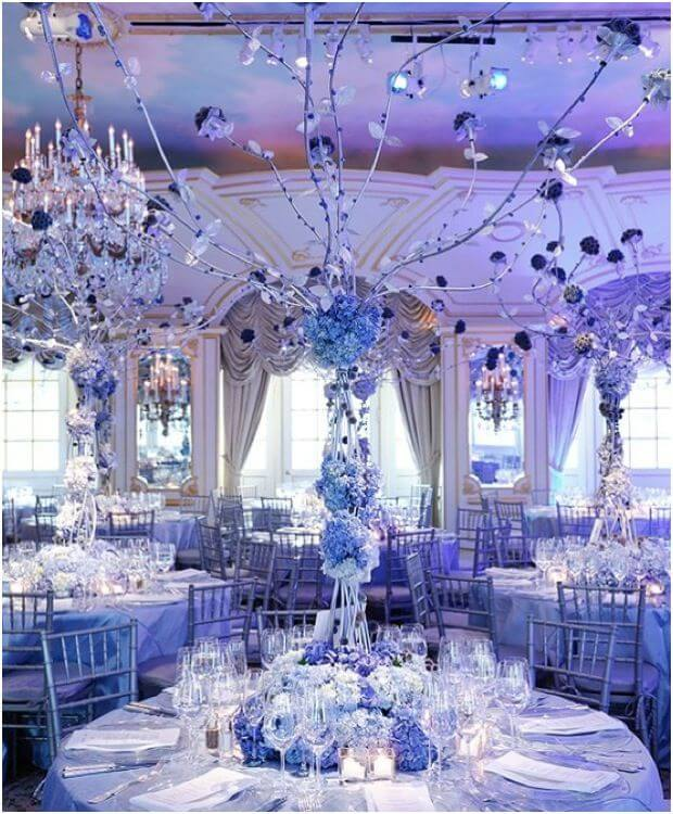 baby blue, silver & crystal coloured centrepiece
