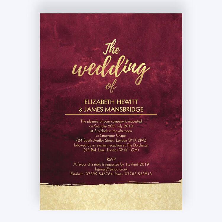 burgundy & gold wedding invitations