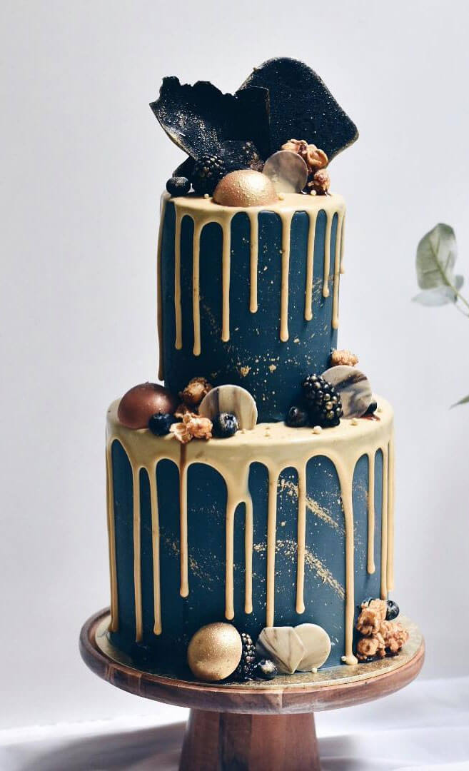 Navy & gold drip cake