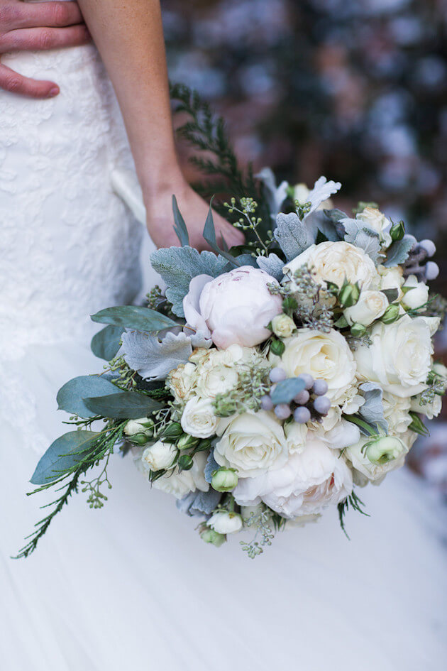 Stunning white peony and rose floral bouquet