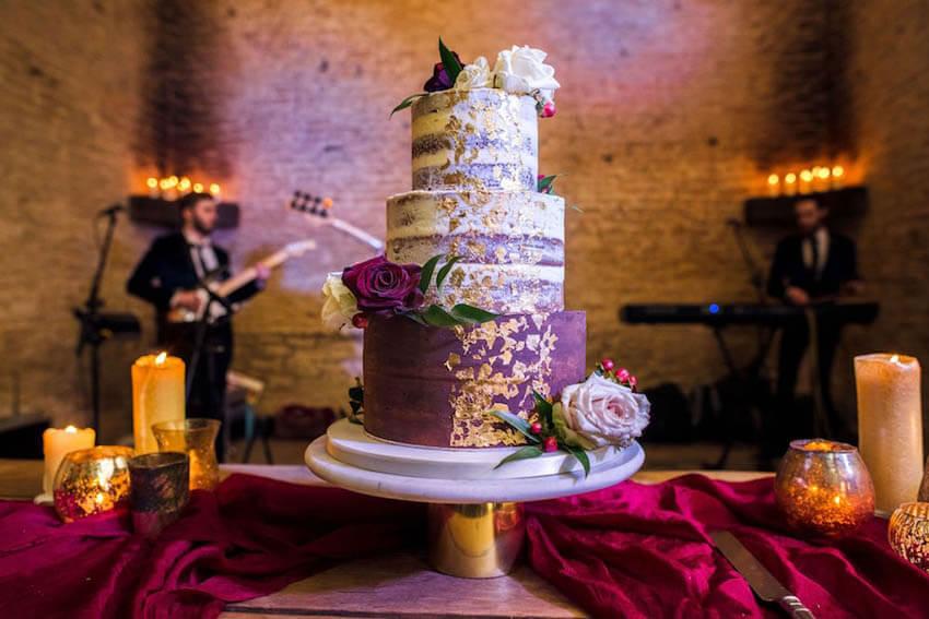 purple, cream & gold leaf Christmas wedding cake