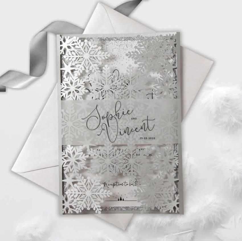 Snowflake laser cut gatefold invites