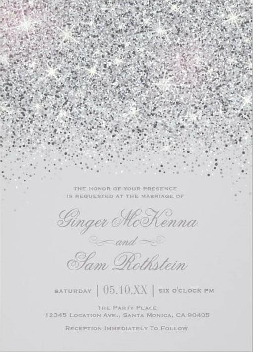 Sparkling silver glitter invitations
