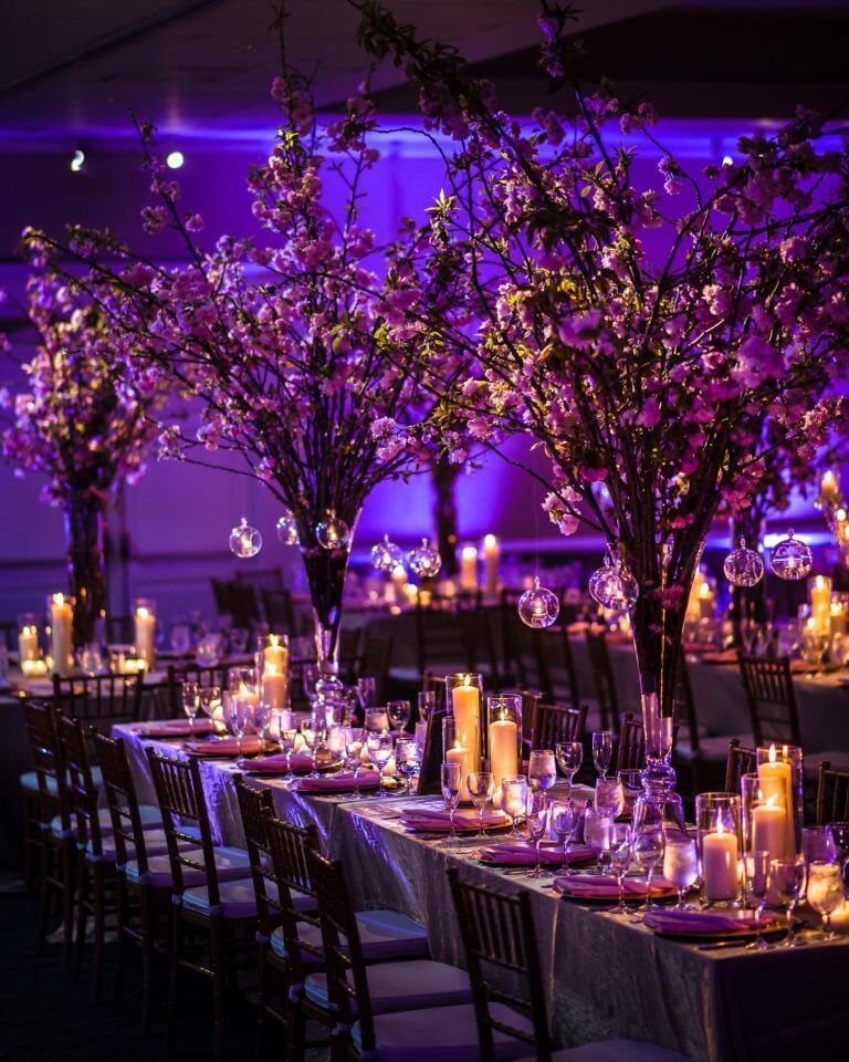 Tall centrepieces with glass baubles