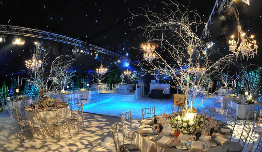 Festively decorated venue