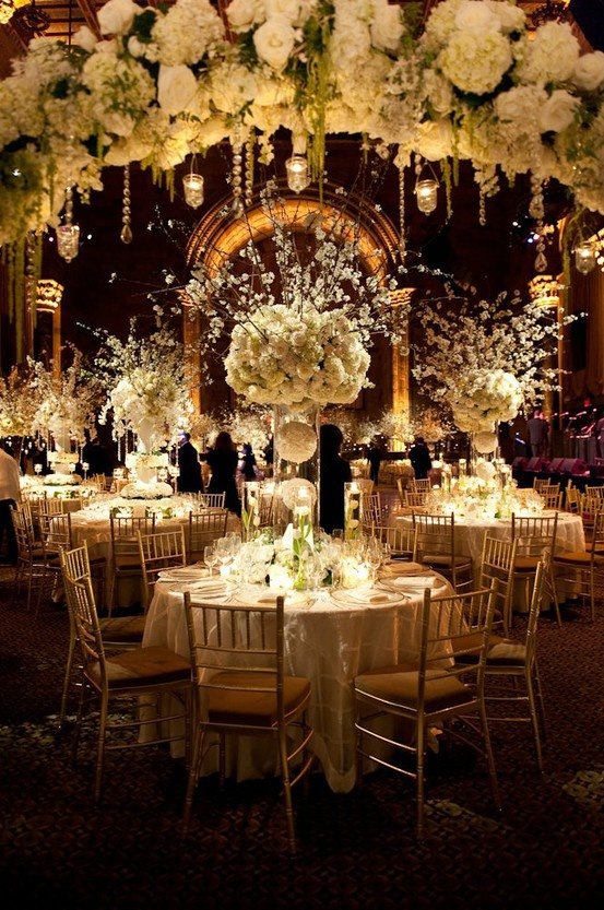 Elaborate-white-floral-centrepieces