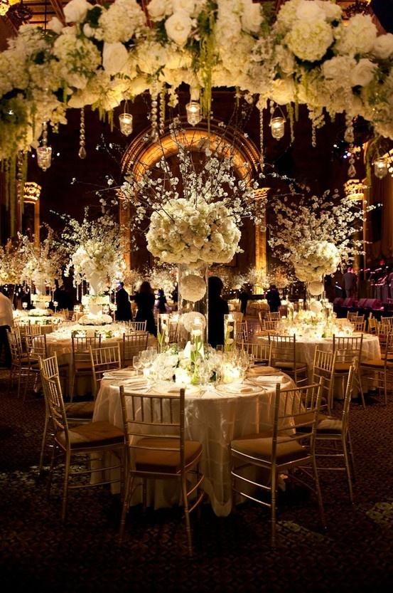 Elaborate-white-floral-centrepiece